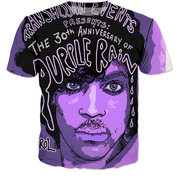 Prince Memorial purple Rain T-Shirt