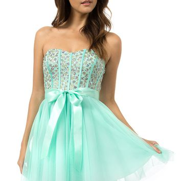 Teeze Me | Queen Colleen Strapless Corset Jewel Beaded Full Tulle Skirt Party Dress | Mint