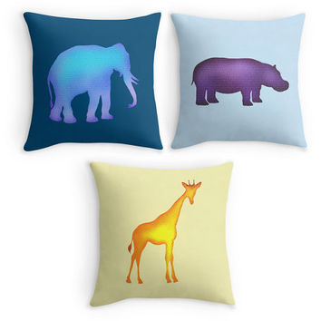 African Animal Throw Pillows, Nursery Cushion Cover, Elephant, Hippo, Giraffe