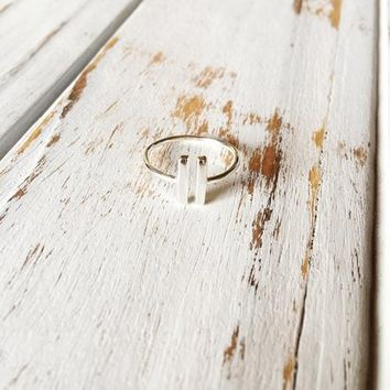 Sterling Silver Parallel Bar Minimalistic Ring