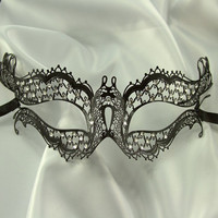 "Infamous Black Venetian Style Metal Laser Cut Masquerade Mask w/ Rhinestones Featured on ""Vampire Diaries"""