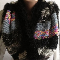 "Circle Scarf, tube scarves ""Grunge glam"" knitted scarf, circle scarf, knitted cape, multicolors, grunge glam style scarf"
