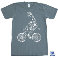 GIRAFFE BICYCLE American Apparel Mens t shirt Asphalt S M L XL (9 Colors Available)