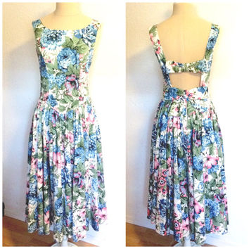 90's Floral Drop Waist Princess Casual Gown Maxi Dress