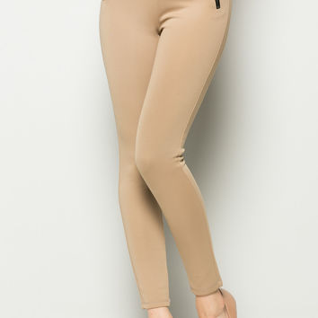Tan Mid Rise Zipper Skinny Pants