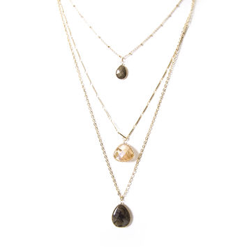 Dew Drops Layered Gold Necklace in Grey and Amber