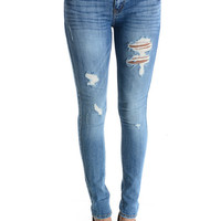 Lean & Mean Distressed Skinny Jeans - Light Denim