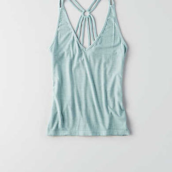 AEO Ribbed Lace-Up Tank, Mint