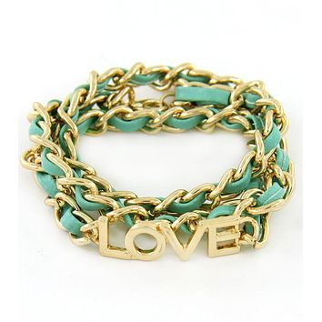 Turquoise and Gold Love Chain Bracelet
