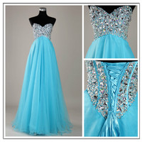 A-line Sweetheart Sweep Train Prom Dress-blue