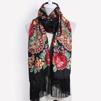 2017 New designer brand high quality Female printing long tassel winter wrapped scarf warm shawl scarves For women 11 color