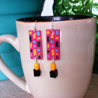 Mod 1950's Panel Shrinky Dink Earrings