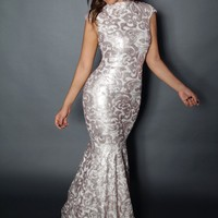 Champagne Shimmering Floral Tulle Nude Illusion Mermaid Gown