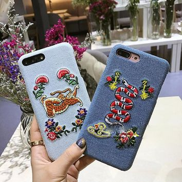2017 Luxury cowboy Embroidery Flower Snake Bees Butterfly Tiger Leather hard phone Case For apple iPhone 6 6S 7 8 Plus