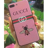 GUCCI New hot style popular logo iphone6s leather gucci print iphone7/8plus male and female soft side case