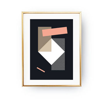 Simple Design, Pink Dark Blue, Geometric Painting, Pastel Decor, Minimalist Poster, Textured Wall Art, Geometric Shapes, Abstract Poster