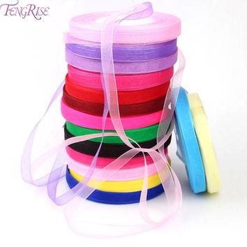 FENGRISE Organza Silk Ribbon 10 mm 50 yards Chiffon Roll Sewing Fabric Supplie Accessorie Craft Gift Wrapping Wedding Decoration