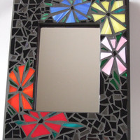 "Mosaic Mirror (11"" x 9""), Funky Floral Handmade Stained Glass Mosaic Design"