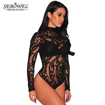 SEBOWEL Mesh Print Long Sleeve Transparent Sexy Bodysuit Women Spandex Black/Pink Turtleneck Mesh Bodysuit Top Jumpsuits Rompers