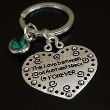 The Love between an Aunt and Niece is Forever Keychain