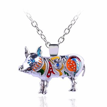 Lovely New Year Gifts Enamel Colorful Animal Pig Pendants Silver Color Necklace Women Necklaces & Pendant Birthday Jewelry Gift