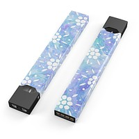 Skin Decal Kit for the Pax JUUL - Blue Watercolor and White Flower Print Pattern