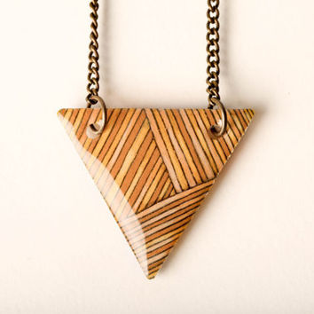 Striped Triangle Necklace in Peach, Ochre