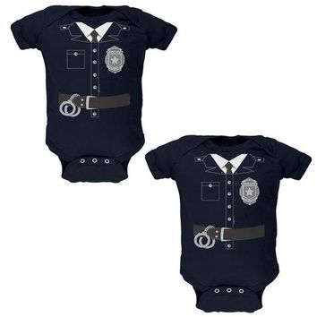 DCCKU3R Halloween Twins Good Cop Bad Cop Costumes Soft Twins Baby One Piece