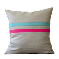 Bright Striped Pillow (16x16) Hot Pink and Baby Blue - Colorful Home Decor