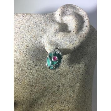 Vintage Handmade 925 Sterling Silver green malachite and ruby stud Earrings