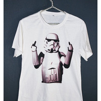 Star Wars Shirt Stormtrooper Finger Flip Funny Women Girl Off White T-Shirt Size S