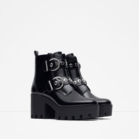 TRACK ANKLE BOOTS WITH BUCKLES