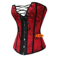 Sexy Red Waist Training Corsets and Bustiers Lace Up Corset Top For Wedding Dress Plus Size Lingerie Underwear 4XL,5XL,6XL = 1958569860