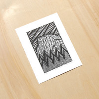 Yosemite Print - Half Dome, California Woodcut (Black & White)