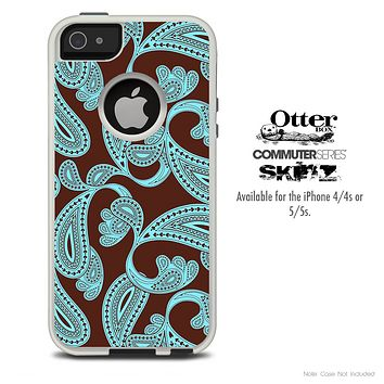 The Brown & Turquoise Paisley Pattern Skin For The iPhone 4-4s or 5-5s Otterbox Commuter Case