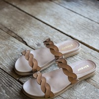 Mission Twisted Band Sandals, Tan