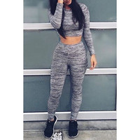 Active Round Neck Skinny Long Sleeve Crop Top and Pants Twinset For Women