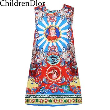 Toddler Autumn Dress Girls Clothes 2017 Novelty Girl Dresses with Floral Printed Pattern O Neck Kids Dresses for Girls Costume