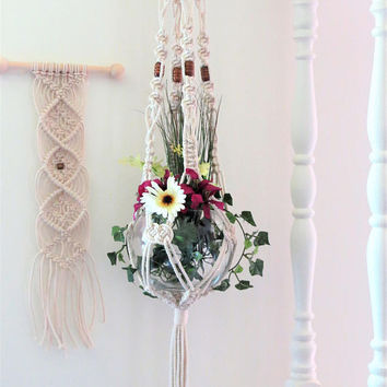 Beaded Macrame Planter Hanger, white Cotton Plant Holder, Boho Modern Hanging Plant, Nautical Knots Decor, Thick Chunky Rope Ceiling Planter