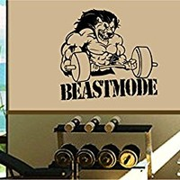 Dabbledown Beastmode Lion Lifting Weights Window Lettering Decal Sticker Decals Stickers