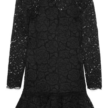 DKNY - Ruffled guipure lace mini dress