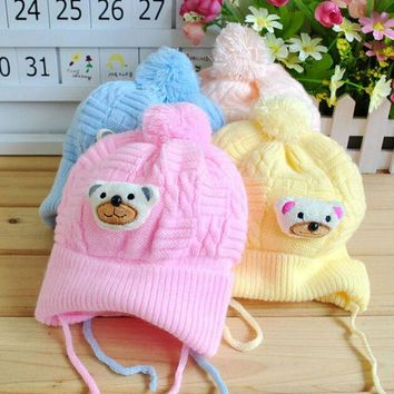 Newborn Baby Boy Girl Infant Toddler Cute Soft Crochet Bear Hat Beanie Warm Cap
