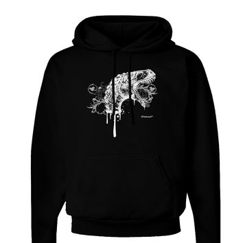 Artistic Ink Style Dinosaur Head Design Dark Hoodie Sweatshirt by TooLoud