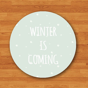 Winter Is Coming Mint Snow Art Chilled Winter Mouse Pad Black Desk Deco Rubber MousePad Ice Drawing Art Vintage Natural Christmas Gift Pad