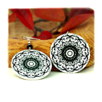 snowflake White Mandala Earrings  rosette  Round by MADEbyMADA