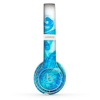 The Blue Water Color Flowers Skin Set for the Beats by Dre Solo 2 Wireless Headphones