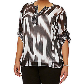 Peter Nygard Plus Beaded Tunic - Black/White