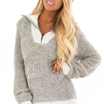 Heather Grey Zipper Front Sweater with Rolled Collar Detail