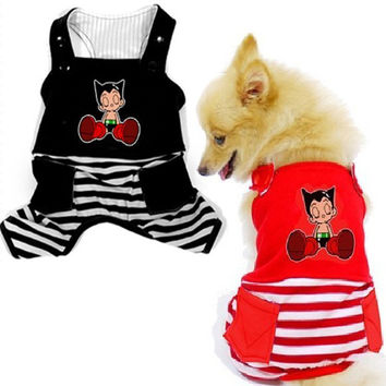 Striped Astro Boy Overalls - Size 6-Color Red