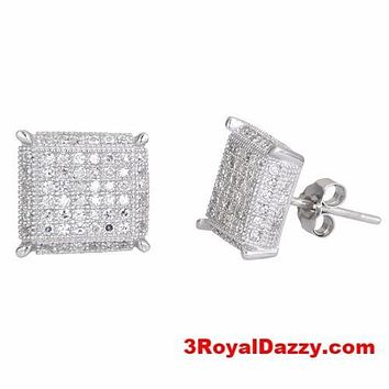 Square Design Men Fashion Micro CZ Pave .925 Sterling Silver Stud Earrings